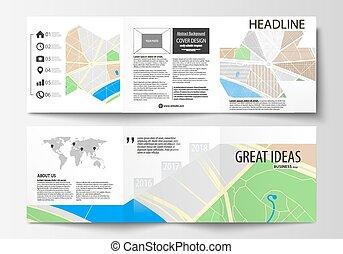 Una serie de plantillas de negocios para folletos de tri dobles cuadrados. Cubierta de cuero, diseño fácil de editar. Mapa de ciudad con calles. Planta plana, negocios de turismo, ilustración abstracta del vector.