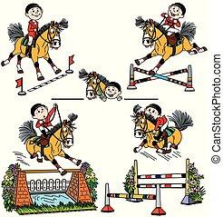 Una serie de saltos de caballos de dibujos animados