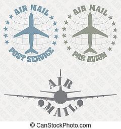 Una serie de sellos de correo aéreo
