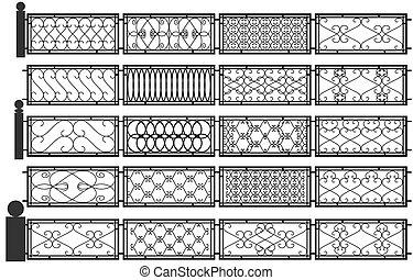 Una serie de siluetas de vallas de hierro.