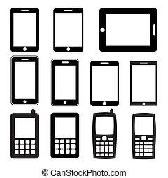 Una serie de teléfonos móviles y tablillas