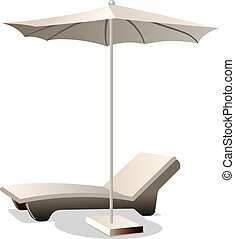 Una silla con paraguas