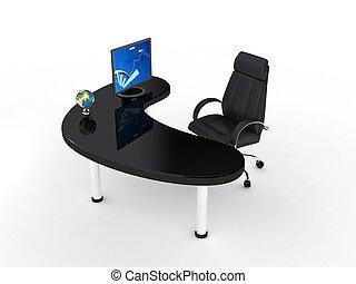 Una silla de negocios sobre blanco.