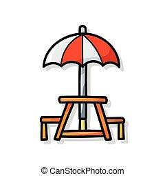Una silla de paraguas