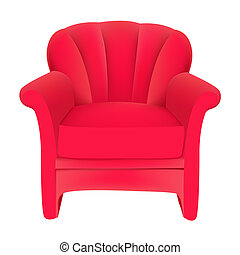 Una silla de terciopelo rojo con fondo blanco