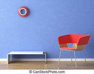 Una silla roja en la pared azul