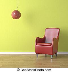 Una silla roja en verde