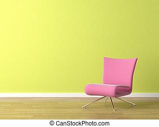 Una silla rosa en la pared verde