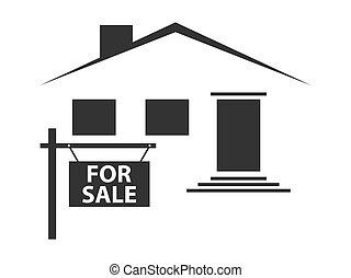 Una silueta de una casa con un letrero a la venta. icono negro sobre fondo blanco. Ilustración de vectores