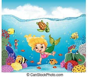 Una sirena de dibujos animados con un hermoso mundo submarino