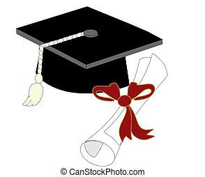 Una sola gorra de graduación y diploma