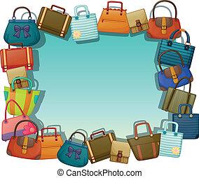 Una superficie vacía rodeada de diferentes bolsas