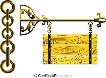 Una tabla de madera en las cadenas