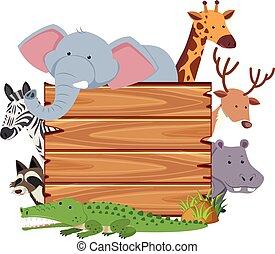 Una tabla en blanco con lindos animales
