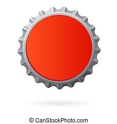 Una tapa de botella roja aislada