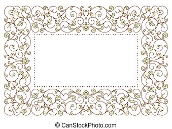 Una tarjeta antigua con adorno floral.