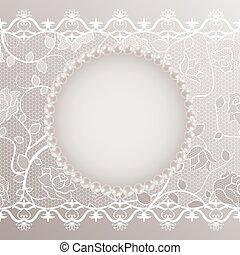 Una tarjeta antigua con encaje y perlas