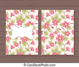 Una tarjeta antigua con flores