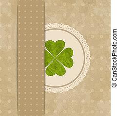 Una tarjeta antigua con trébol de cuatro hojas para el día de San Patrick