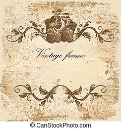 Una tarjeta antigua con un patrón en papel antiguo
