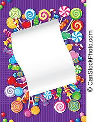 Una tarjeta de dulces y dulces