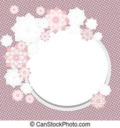 Una tarjeta de felicitación antigua con flores florecientes y marco. Trasfondo retro. Ilustración de vectores