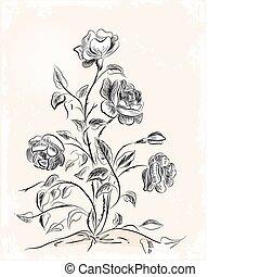 Una tarjeta de felicitación antigua con rosas