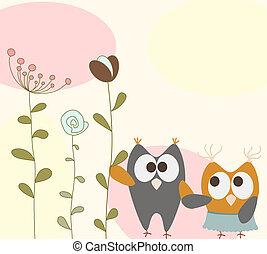 Una tarjeta de felicitación con aves