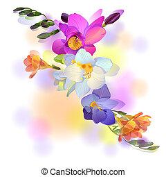 Una tarjeta de felicitación con dulces flores de freesia