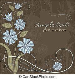 Una tarjeta de felicitación con flores azules