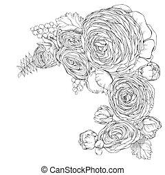 Una tarjeta de felicitación con flores lineales de Ranunculus