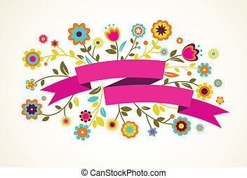 Una tarjeta de felicitación con flores y cinta