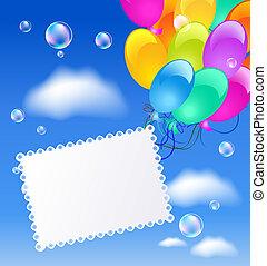 Una tarjeta de felicitación con globos