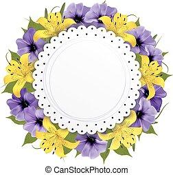Una tarjeta de felicitación con hermosas flores. Vector.