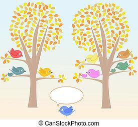 Una tarjeta de felicitación con lindos pájaros debajo