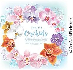 Una tarjeta de felicitación con orquídeas