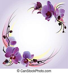 Una tarjeta de felicitación con orquídeas violetas