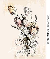 Una tarjeta de felicitación con tulipanes
