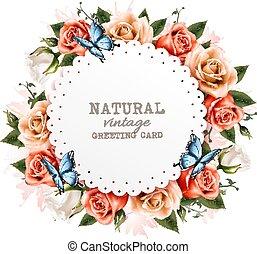 Una tarjeta de felicitación con unas hermosas rosas y mariposas. Vector.