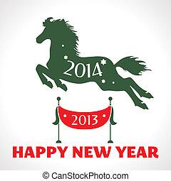 Una tarjeta de felicitación de año nuevo con caballo