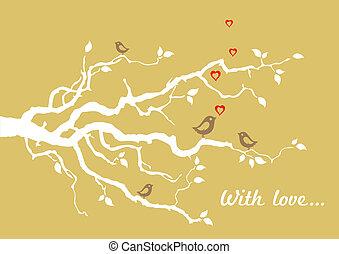 """Una tarjeta de felicitación de """"Con amor"""" de oro"""