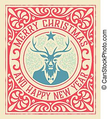 Una tarjeta de felicitación de Navidad con ciervos