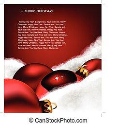 Una tarjeta de felicitación de Navidad. Juguete navideño con algodón de lana