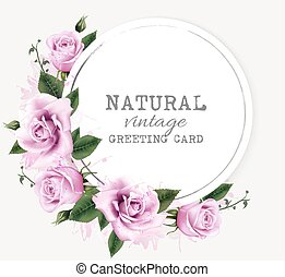 Una tarjeta de felicitación natural con flores de belleza. Vector.