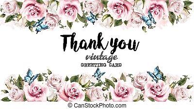 Una tarjeta de felicitación natural con rosas. Vector.