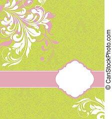 Una tarjeta de invitación antigua con elegante diseño floral abstracto