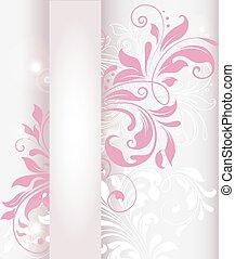 Una tarjeta de invitación antigua con un elegante diseño floral retro abstracto