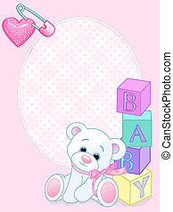 Una tarjeta de llegada rosa