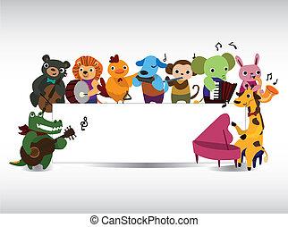 Una tarjeta de música de animales