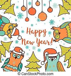 Una tarjeta de Navidad con caricatura de búho